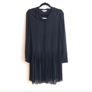 ISABEL MARANT Silk Dress Layered Sheer Pleated